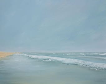 Beach Blue Ocean Fine Art Seascape Original Oil Painting on Canvas and Prints