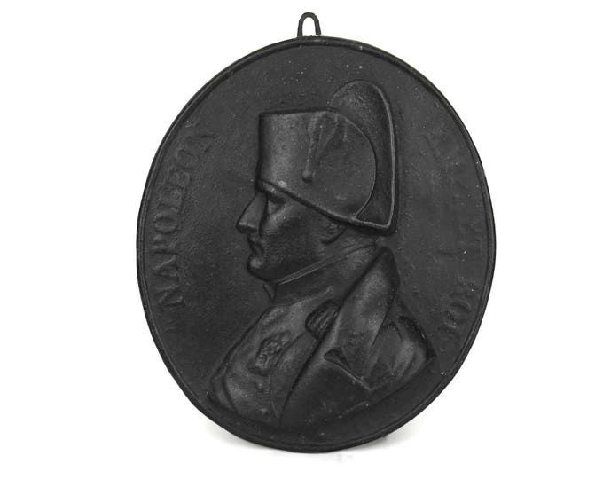 Napoleon Bonaparte Portrait Wall Hanging Plaque. French Emperor and King Napoleon Profile. Antique Cast Iron Medallion Plaque. Antoine Bovy.