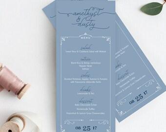 Dusty Blue Wedding Menu Cards - Modern Reception Menus - Printable or Printed