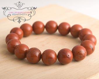 Red jasper bracelet 12mm | stretch beaded bracelet natural untreated gemstone | energy  reiki chakra healing jewelry
