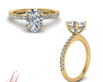 Petite Engagement Ring 1.15 Ct. Oval Shaped Diamond In 14K Yellow Gold GIA Certified