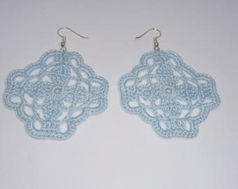 crochet earrings blue square