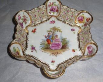 Vintage Dresden 6 sided raised edge  Trinket Dish, Dresser Dish , Ring Dish