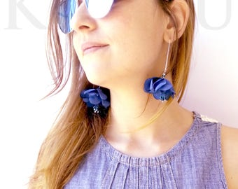 Blue Flower Earrings Flower Earrings, earrings lightweight, fabric Flower Earrings, earrings hanging flowers, blue earrings,