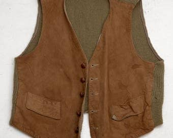Vintage 1960s Deerskin Trading Post Leather Vest; Unisex Steampunk Western Hip; FREE Shipping U.S.A.