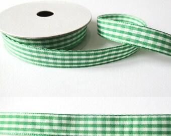 2 m x fancy 10mm Pine Green gingham Ribbon