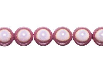 10 x 8mm - pink powder magic round beads