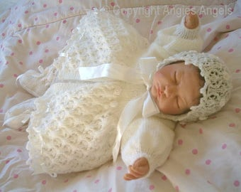 PDF Knitting Pattern 16 Reborn 0-3 months double knit pattern matinee coat bonnet and bootees