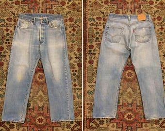 Vintage 1980s Levi's 501 Waist 35 Red Line Selvedge Jeans
