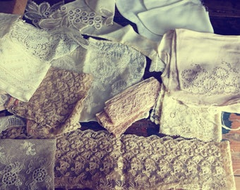 Lovely old vintage box of vintage/ antique lace and trims, 1930s box, collars, lace, fabric