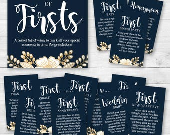 A Year of Firsts - Wine Gift Basket Tags - Bridal Shower Wine Gift - Navy Blue, Gold, White Floral - INSTANT DOWNLOAD