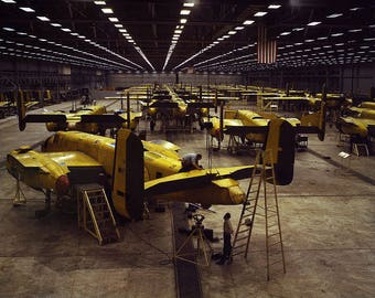 Assembling the North American B-25 Mitchell, Kansas, WWII Color Photograph