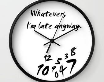 Black And White Wall Clock white wall clock | etsy