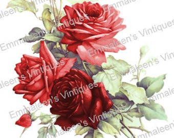 Vintage Victorian Shabby Red Tea Roses Waterslide Decals FL497 U PIC SIZE