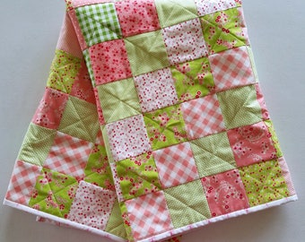Precious Pink and Green Baby Girl Quilt ~ Baby Quilt ~ Pink and Green Baby Girl Blanket