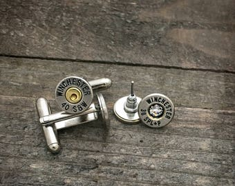 Mr. & Mrs. bullet earrings and bullet cufflinks set