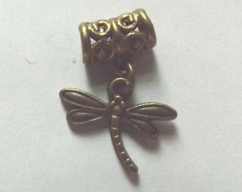 Pendant Dragonfly 15 x 13 mm color bronze