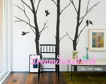 Nursery wall decals, tree with birds, tree wall decals,Wall Stickers wall decor wall art -DK115
