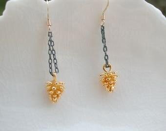 Gold Pinecone Earrings, Mixed Metal Earrings
