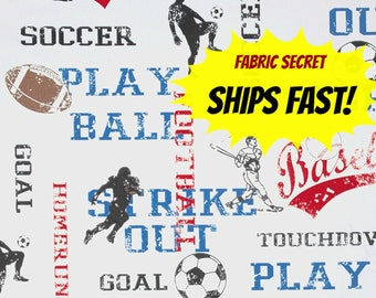 Sports Fabric by the Yard Upholstery Home Decor baseball football soccer boys room Premier Prints American Blue Red SHIPs FAST