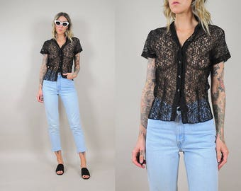 50's Sheer Black Lace Blouse