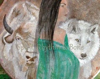 """White Buffalo Medicine Wolf - 14"""" Drum - Buffalo Rawhide - Matching Mallet & Drum Bag + Buffalo Rattle + Mini Rattle"""