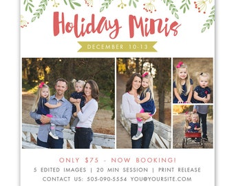 Holiday mini session template - christmas mini session template - photography marketing template