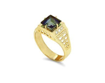 14k solid gold diamond and rainbow topaz men's signet ring, men's pinkie ring.
