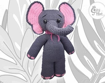READY TO SHIP! Elephant Stuffed Animal Hand Made Crochet One Of A Kind Toy Doll Large Plush Stuffed Animal