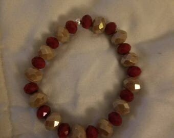 Red and brown taupe stretch bracelet