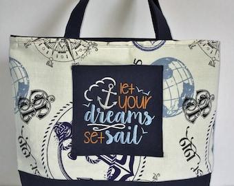 Canvas Tote Bag, Fabric Handbag, Carry On Bag, Sailing & Anchors Fabric