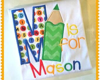 Back to School Shirt -Boys Shirt - Girls Shirt - Alphabet Shirt - Pre K -Kindergarten -Embroidered Shirt -1st Grade -2nd Grade - 3rd Grade
