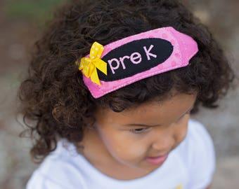Back to School Headband - Crayon Headband - School Grade Headband - Hair Accessory - Monogram Headband - School Hair Accessory - Embroidered