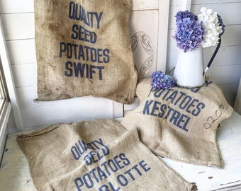Three fantastic printed hemp seed Potato sacks