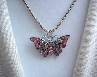 Vintage Pink Pendant, Vintage Butterfly, Pink Butterfly, Dark Silver Butterfly, Butterfly, Vintage, Gift Ideas, Gifts for Women