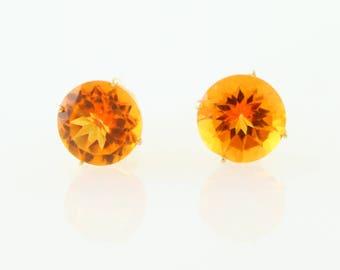 14KT Yellow Gold 4.74ctw Autumn Fire Topaz Studs Earring