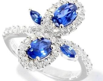 Platinum o/ Silver 2.55ctw Blue Color CZ Ring, Size 7