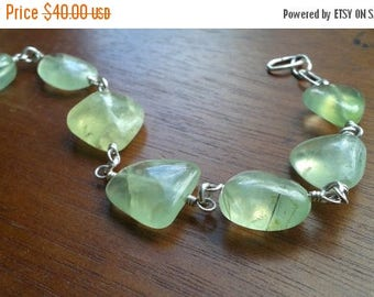 ON SALE Pale Green Prehnite & Sterling Silver Bracelet -Crystal Healing, Balance, Forgiveness, Spirituality, Connection, Lucid Dreaming