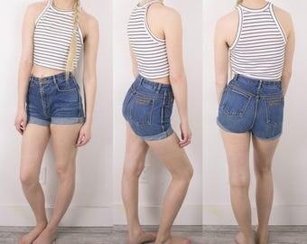 Vintage (XS) Gloria Vanderbilt High Waisted Denim Shorts / Mom Jeans 80s High Rise Blue Retro High Waisted Shorts S61