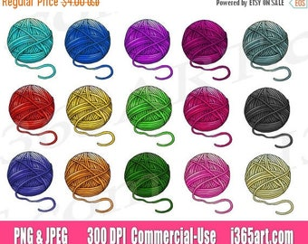 50% OFF Yarn Clipart Clip art, crochet clipart, yarn ball clipart, knitting, balls of yarn, scrapbooking, Graphics, PNG, Commercial