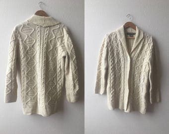 vintage 70's CREAM FISHERMAN SWEATER by Inis Crafts - Made in Ireland, small, medium