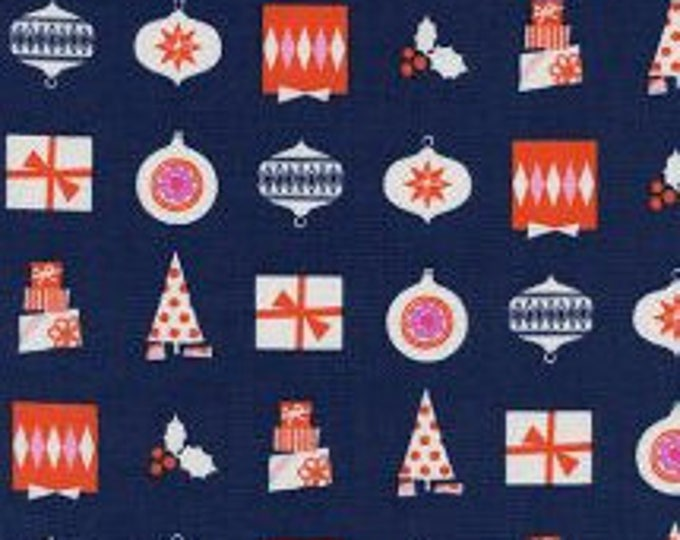 Wrapped Up in Navy- Noel by Cotton and Steel- Holiday Fabric