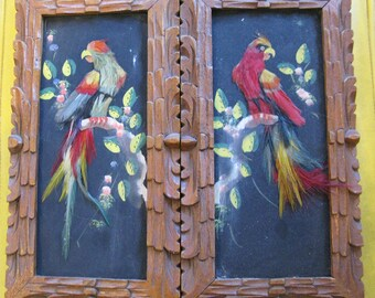 Vintage 60's Pair Mexican Bird Feather Paintings - Carved Wood Frames