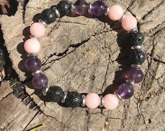 Amethyst & Rose Quartz Aroma bracelet
