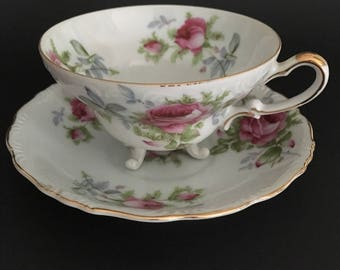 Vintage Lafton Hand Painted English Bone China Tea Cup and Saucer