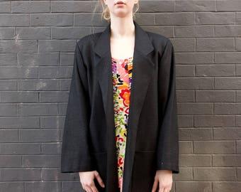 VINTAGE 1980s Black Vintage Silk Open Blazer Women's M/L