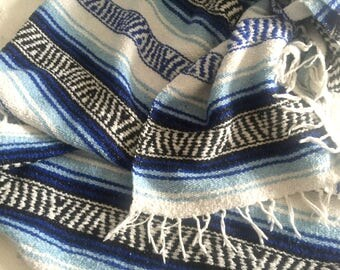 Large Mexican Blanket, Hand Knit Afghan, 47 x 67, Serape Blue White Blanket, 70's Country Western Home Decor,