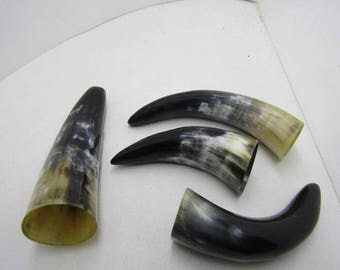 4 Cow horns ....  e4b7d ... Natural colored polished cow horns.,.....