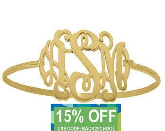 Personalized gold Monogram Bracelet, sterling silver custom Initial Bangle Bracelet, Initial Monogram Bracelet