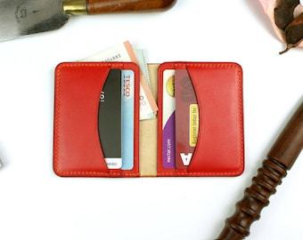 Handmade leather wallet,  Front pocket  wallet, Orange wallet